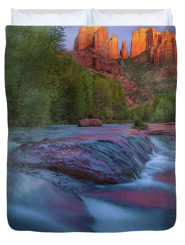 Decoration Duvet Cover featuring the digital art Beauty From Afar by Don Kuing