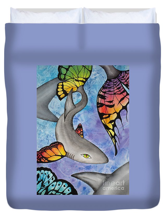 Surreal Duvet Cover featuring the painting Beauty In The Beasts by Lucy Arnold