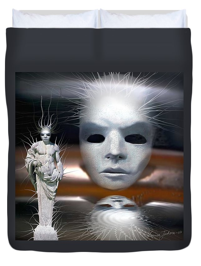 Digital Beauty Eyes Water Duvet Cover featuring the digital art Beauty Is Invisible To The Eye. by Veronica Jackson