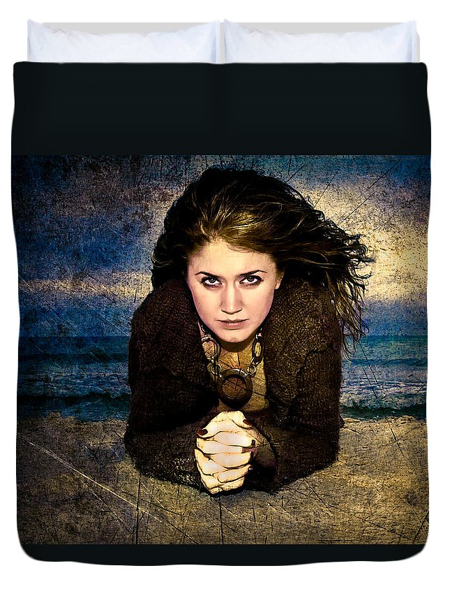 Woman Duvet Cover featuring the photograph Beauty On The Beach by Rich Leighton