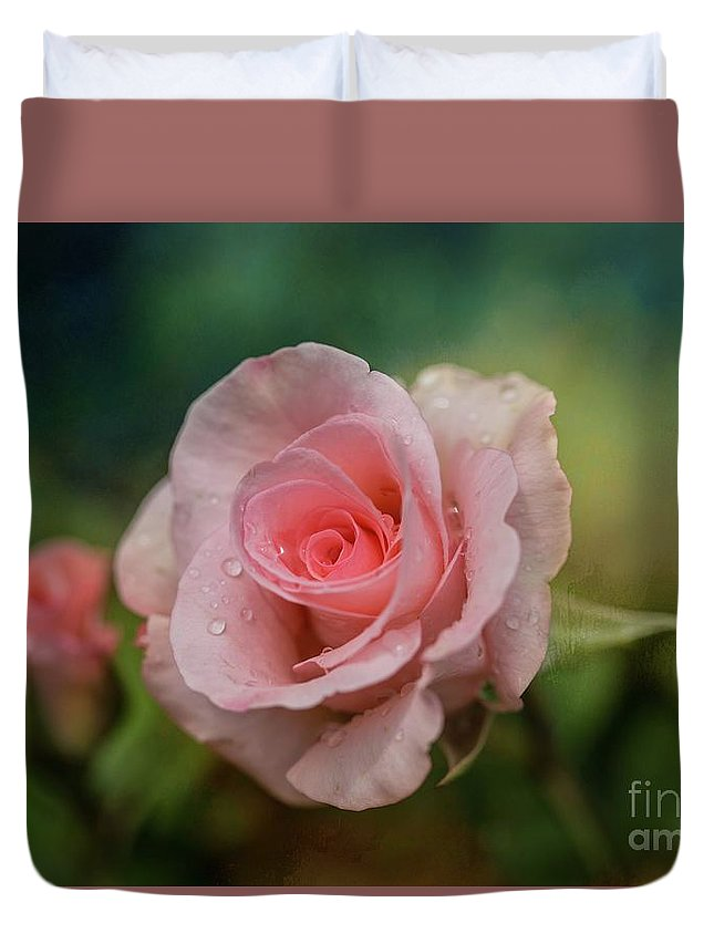 Rose Duvet Cover featuring the photograph Beauty With Raindrops by Eva Lechner