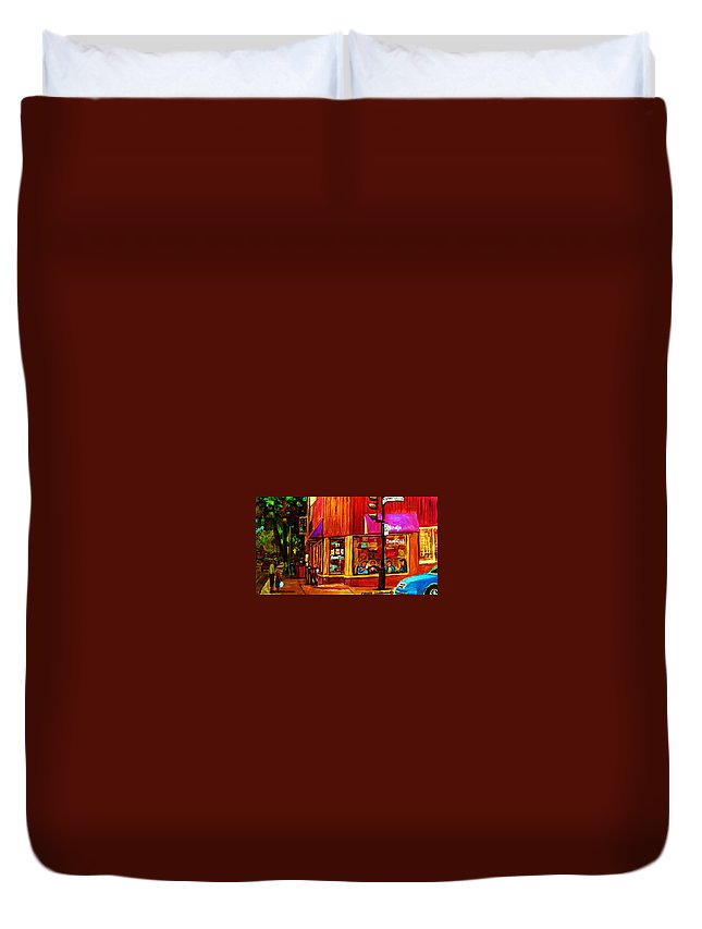Beautys Restaurant Montreal Duvet Cover featuring the painting Beautys Luncheonette by Carole Spandau