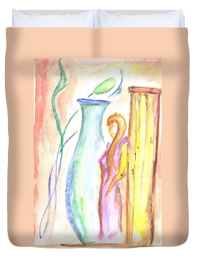 Duvet Cover featuring the painting Beauty's Mystery by Gavion Chandler