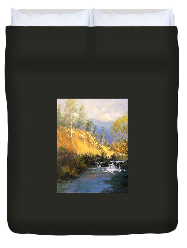 Landscape Duvet Cover featuring the painting Beaver Dam by R W Carlson