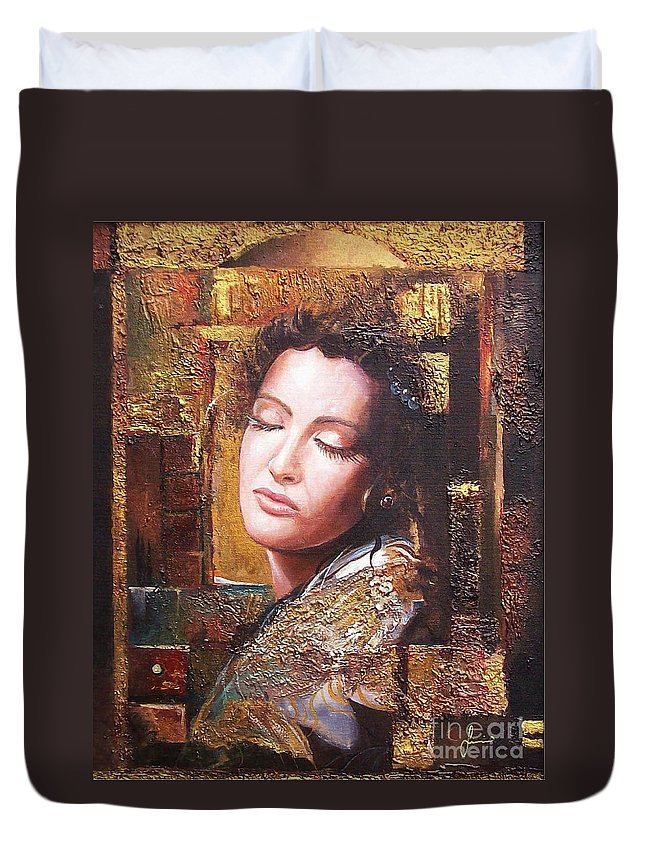 Female Portrait Duvet Cover featuring the painting Because You Are Beautiful by Sinisa Saratlic