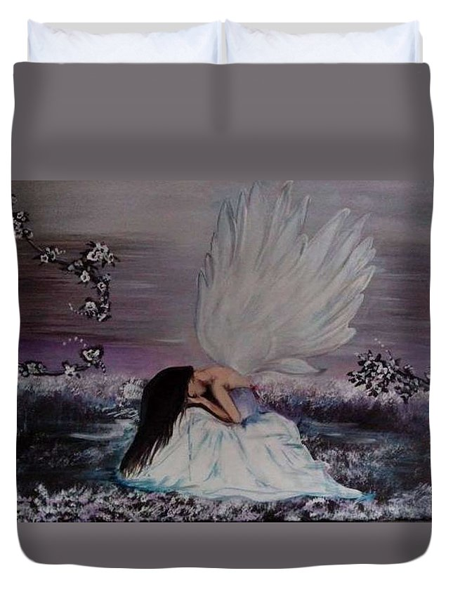 Duvet Cover featuring the painting Becky's Flowers by Valerie Heath