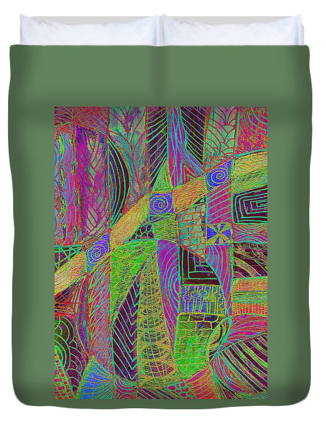 Abstract Duvet Cover featuring the digital art Bedazzled by Wayne Potrafka