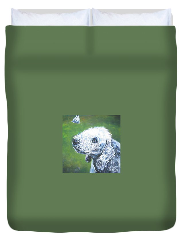 Bedlington Terrier Duvet Cover featuring the painting Bedlington Terrier With Butterfly by Lee Ann Shepard