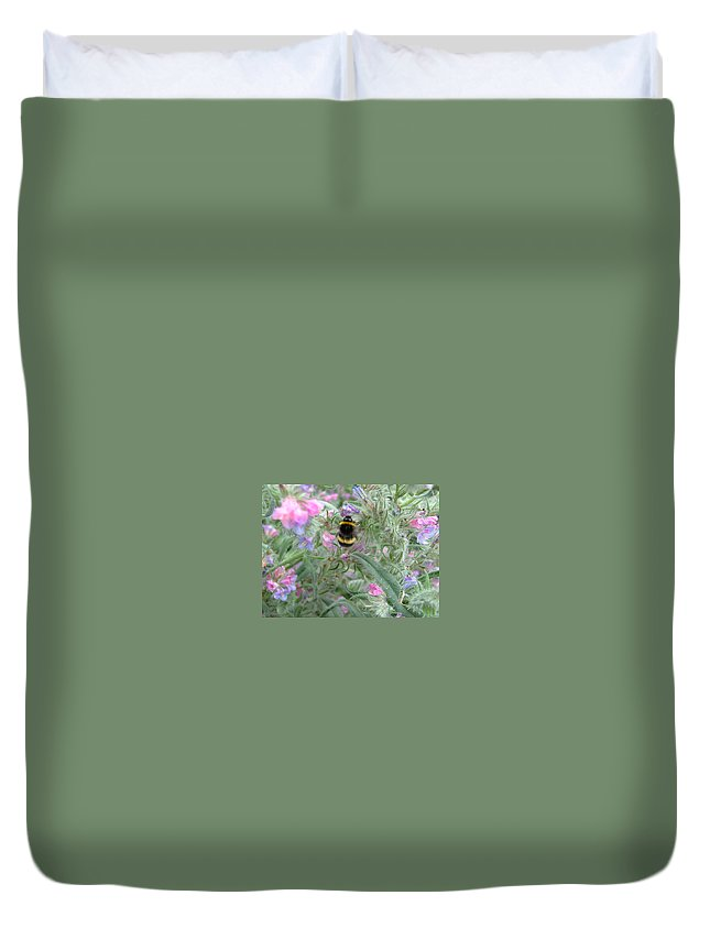 Bee And Flower Duvet Cover featuring the photograph Bee And Flower by Heather Lennox