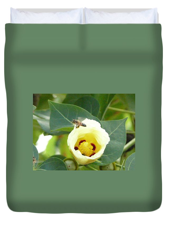 Bee Plants Tropical Duvet Cover featuring the photograph Bee Chowtime by Robert aka Bobby Ray Howle