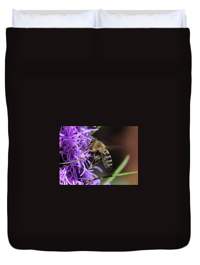 Honey Duvet Cover featuring the photograph Bee by Clyde Dellinger
