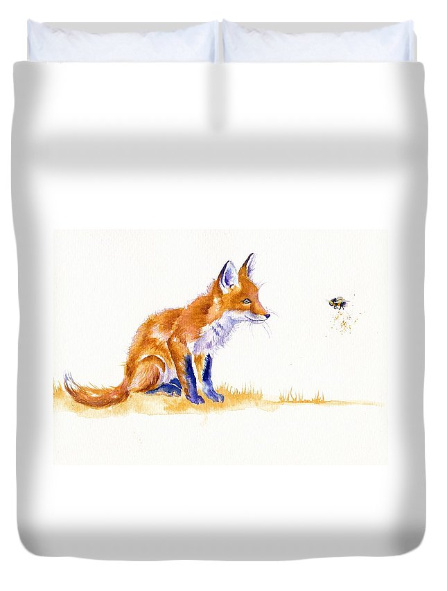 Fox Duvet Cover featuring the painting Bee Important by Debra Hall