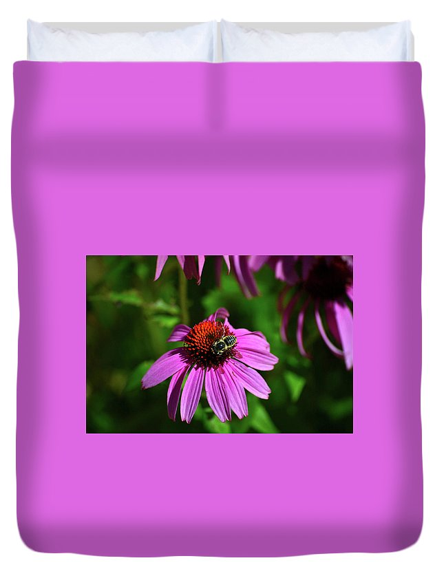 Bee Duvet Cover featuring the photograph Bee Taking A Rest by Krista Russell