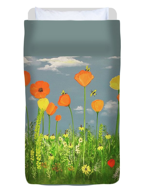 Landscape Duvet Cover featuring the painting Bee-utiful Day by Carol Sweetwood