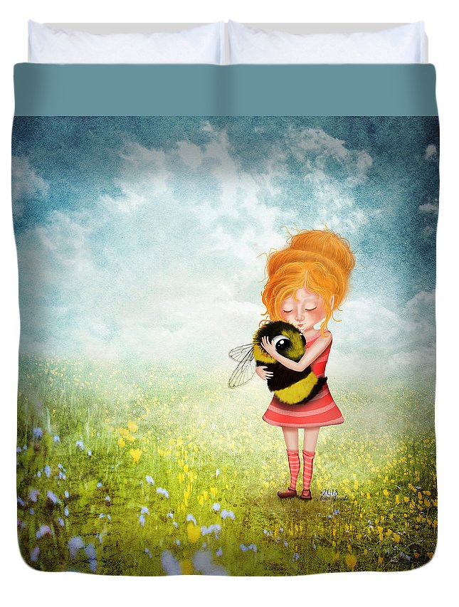 Bee Duvet Cover featuring the digital art Bee Whisperer by Laura Ostrowski