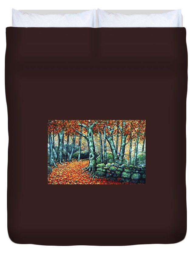 Landscape Duvet Cover featuring the painting Beech Woods by Frank Wilson