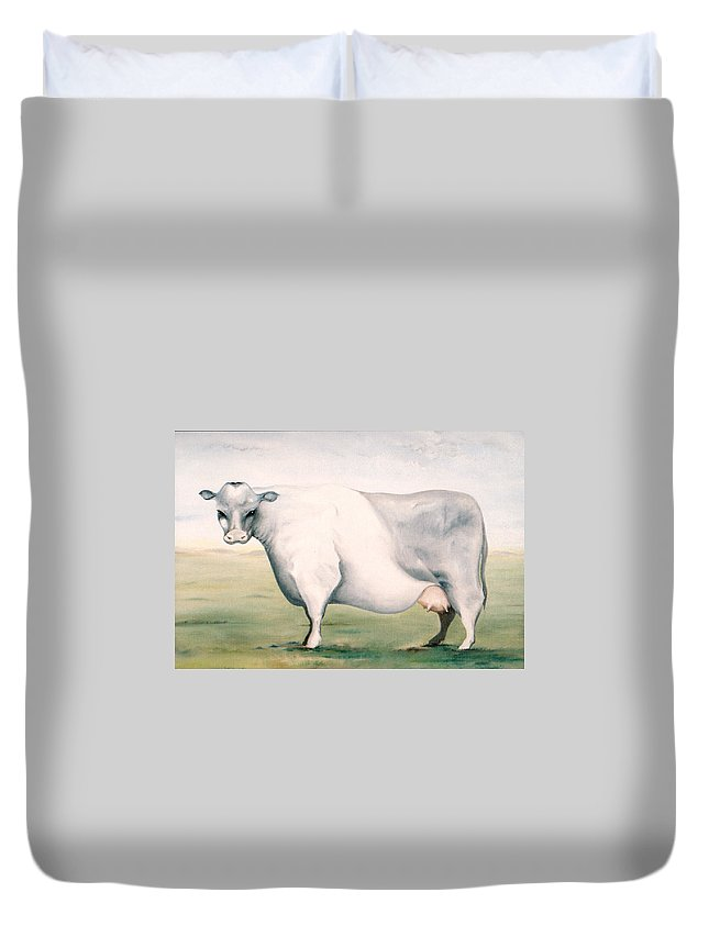 Beef Duvet Cover featuring the painting Beef Holocaust I by Mark Cawood