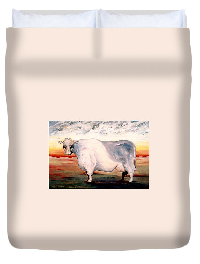 Cow Duvet Cover featuring the painting Beef Holocaust II by Mark Cawood