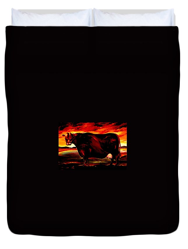 Farm Animal Duvet Cover featuring the painting Beef Holocaust IIi by Mark Cawood