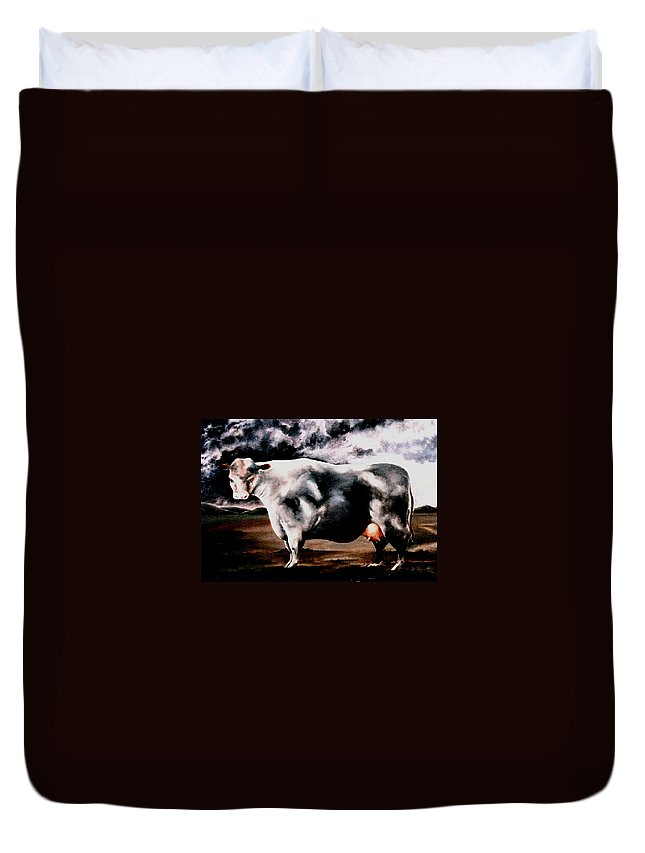 Cow Duvet Cover featuring the painting Beef Holocaust Iv by Mark Cawood