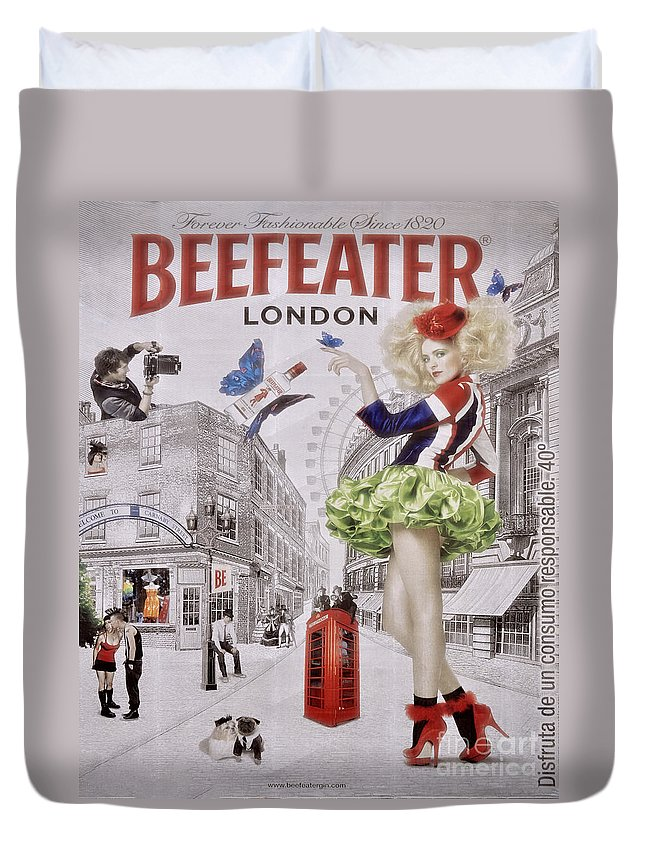 Billboard Duvet Cover featuring the photograph Beefeater Gin by Mary Machare