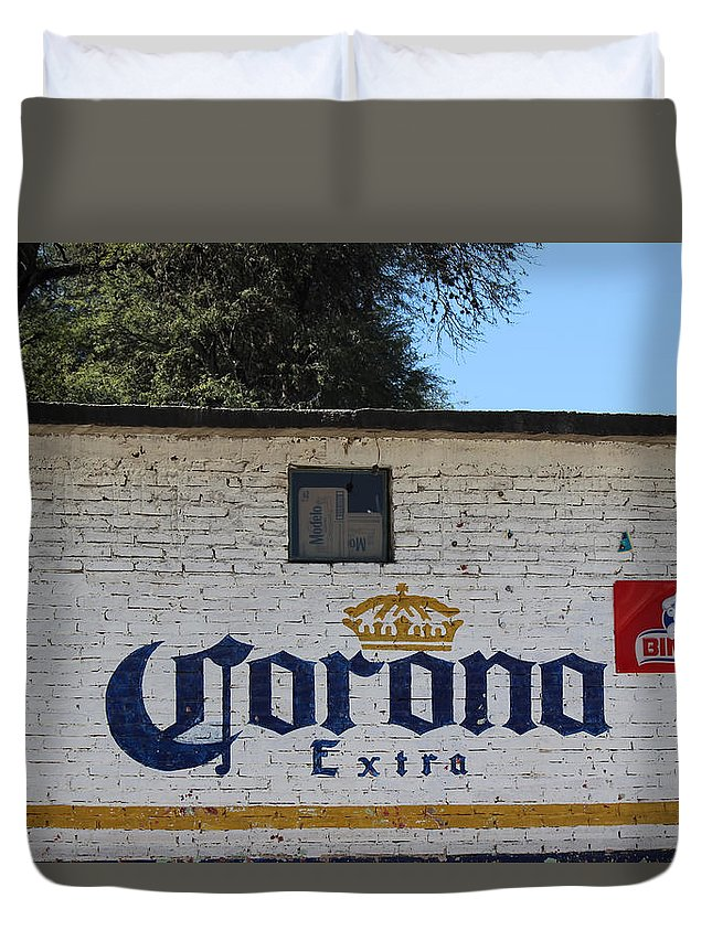 Advertising Art Duvet Cover featuring the photograph Beer In Mexico by Cathy Anderson