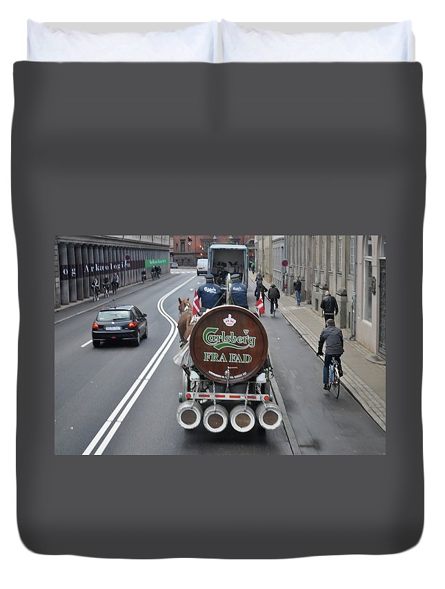 Carlsberg Duvet Cover featuring the photograph Beer Wagon by Kat Cortez