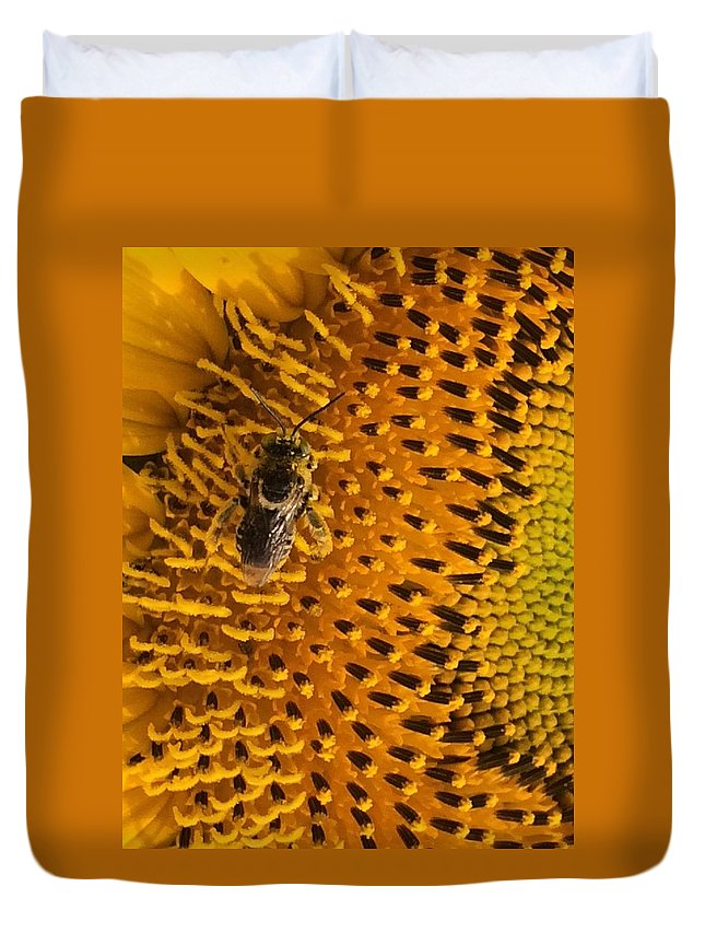 Bee Duvet Cover featuring the photograph Bee's Sunflower by Sarah Avignone