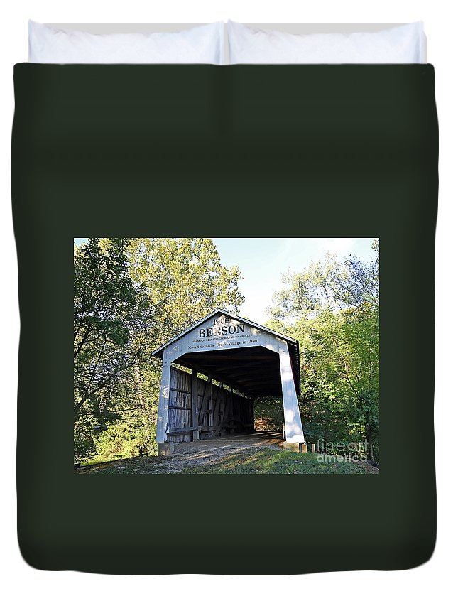 Beeson Duvet Cover featuring the photograph Beeson Covered Bridge Indiana by Steve Gass