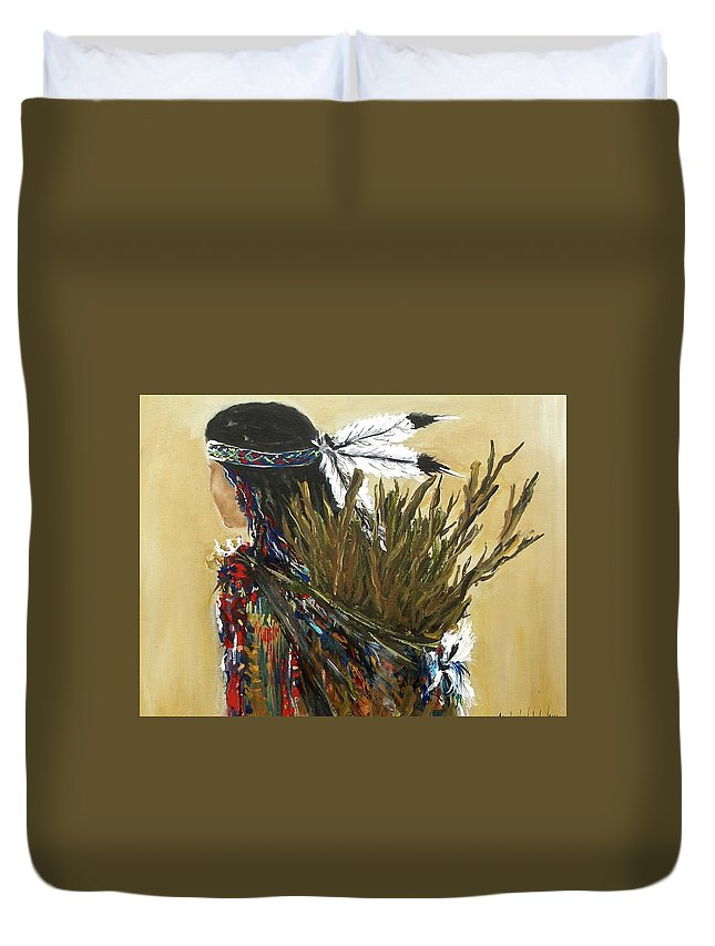 Before Cooking Indian Girl Woman Caring Wood Camp Fire Apache Duvet Cover featuring the painting Before Cooking by Miroslaw Chelchowski