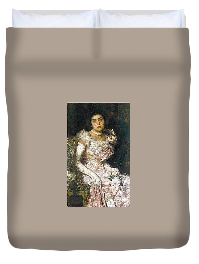 Antonio Mancini Italian 1852 - 1930 Before The Ball Duvet Cover featuring the painting Before The Ball by MotionAge Designs