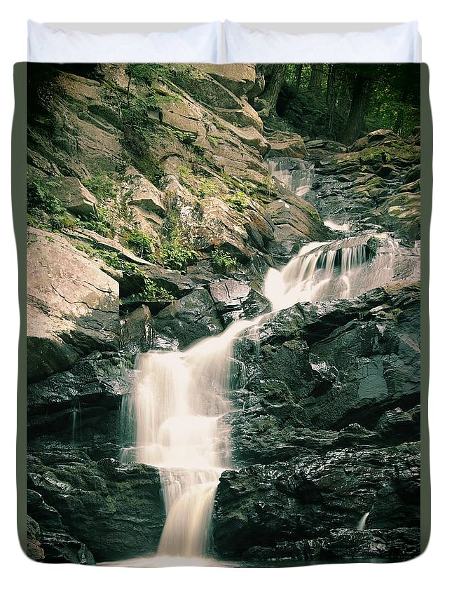 Wahconah Falls Duvet Cover featuring the photograph Before The Rain Came by Debbie Storie