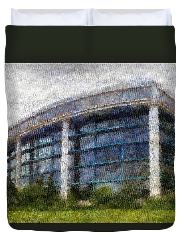 Chicago Duvet Cover featuring the mixed media Before The Storm Chicago Shedd Aquarium Northside Pa 02 by Thomas Woolworth