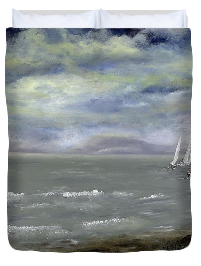 Ocean Duvet Cover featuring the painting Before The Storm by Roger Mabbett
