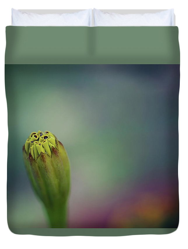 Macro Duvet Cover featuring the photograph Before You Bloom by Romina Ludovico-Pfosi