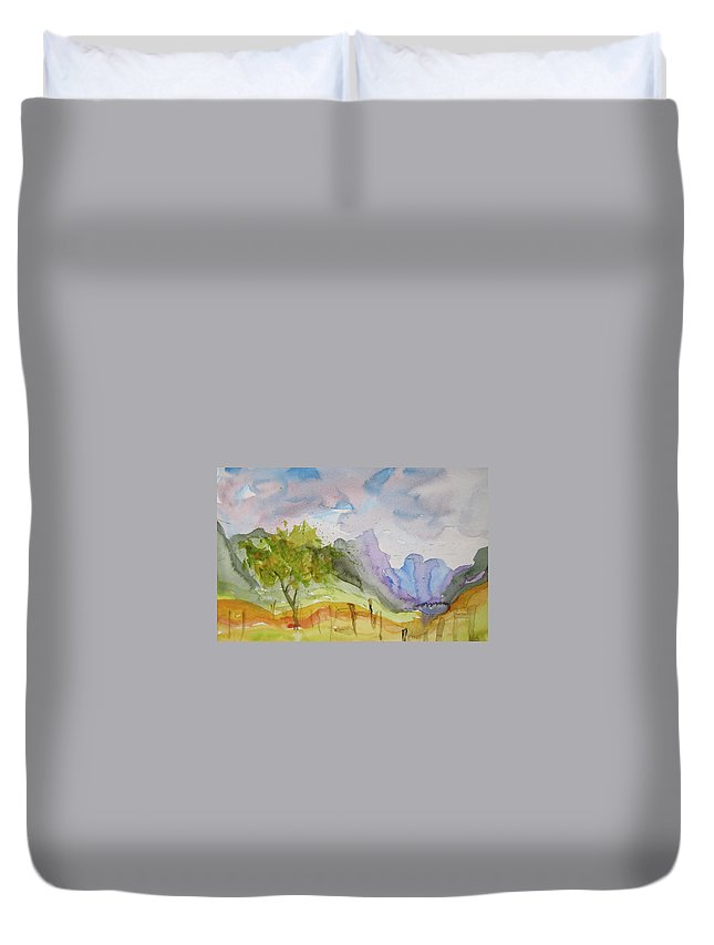 Landscape Duvet Cover featuring the painting Behind Overland Sheepskin by Beverley Harper Tinsley