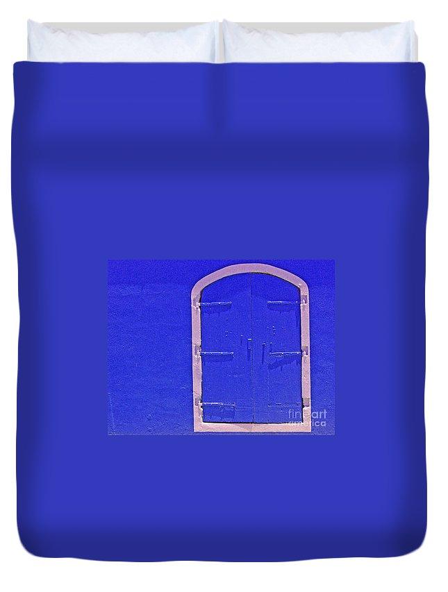 Door Duvet Cover featuring the photograph Behind The Blue Door by Debbi Granruth