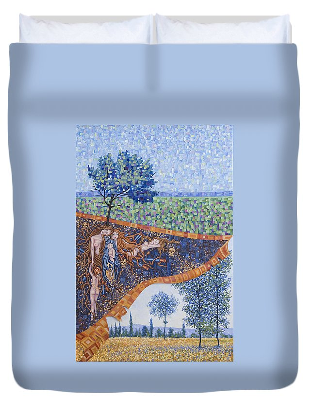 Canvas Duvet Cover featuring the painting Behind The Canvas by Judy Henninger