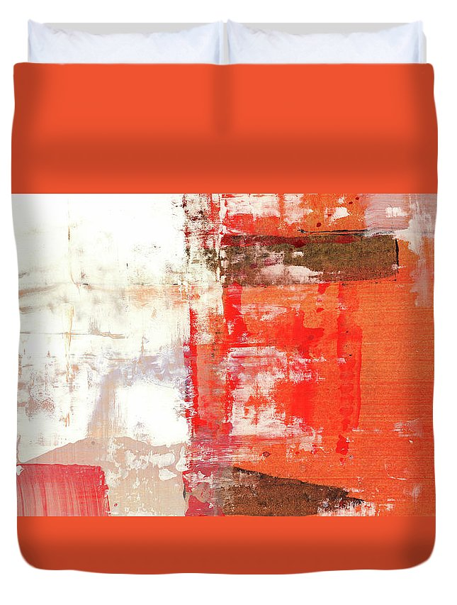 Art Duvet Cover featuring the painting Behind The Corner - Warm Linear Abstract Painting by Modern Abstract