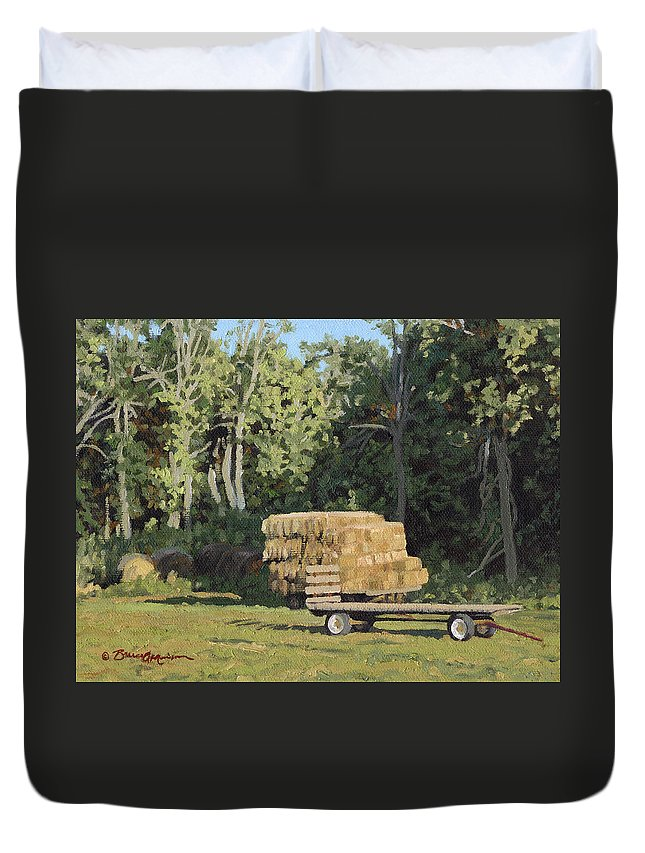 Landscape Duvet Cover featuring the painting Behind The Grove by Bruce Morrison