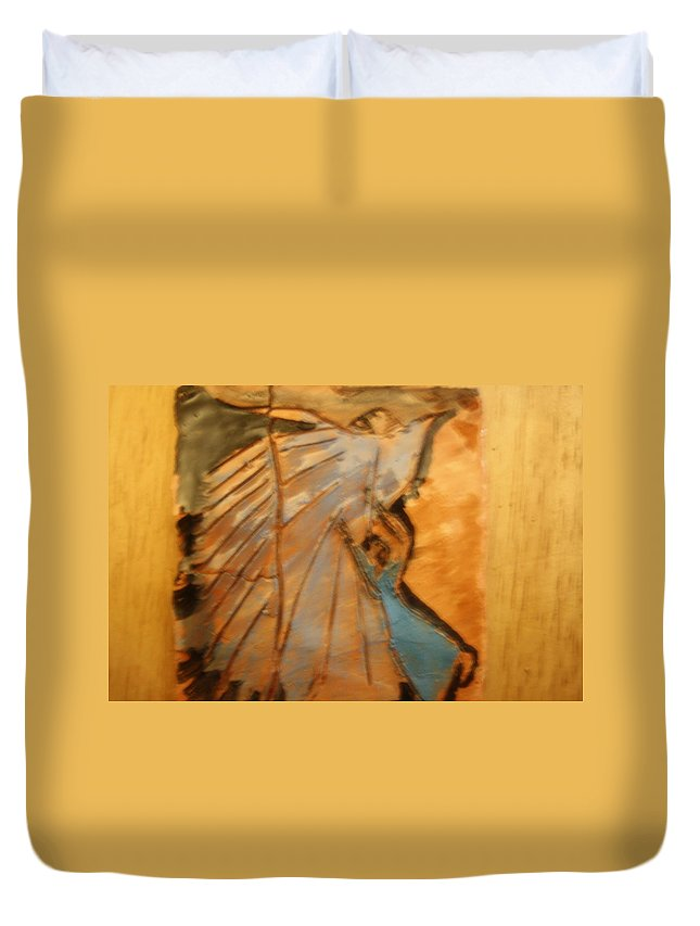Jesus Duvet Cover featuring the ceramic art Behold - Tile by Gloria Ssali