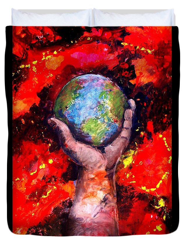 World Duvet Cover featuring the painting Behold by Patty Kingsley