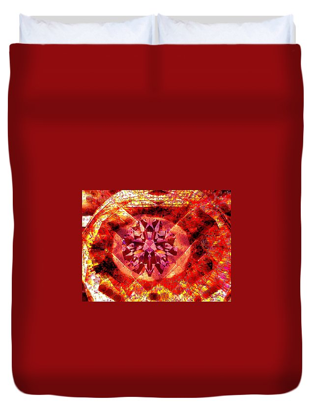 Abstract Duvet Cover featuring the photograph Behold The Jeweled Eye Of Blood by Seth Weaver
