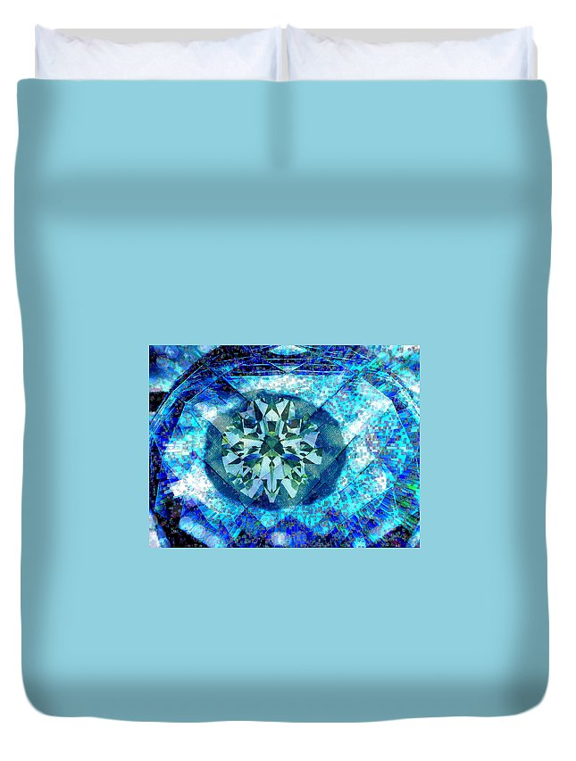 Abstract Duvet Cover featuring the digital art Behold The Jeweled Eye by Seth Weaver