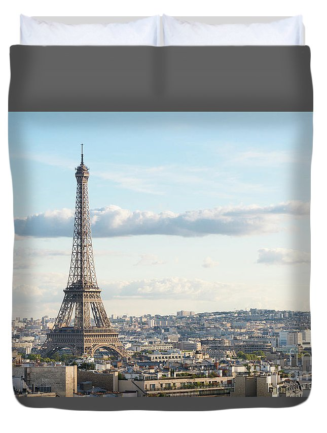 Eiffel Duvet Cover featuring the photograph Paris Roofs And Tower by Anastasy Yarmolovich