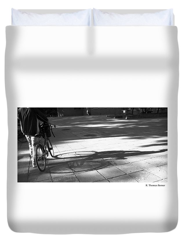 Duvet Cover featuring the photograph Beijing Bike Lines by R Thomas Berner