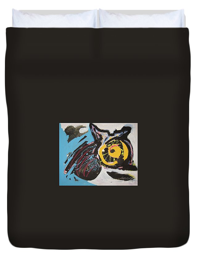 Abstract Cat Paintings Duvet Cover featuring the painting Being Lazy by Seon-Jeong Kim