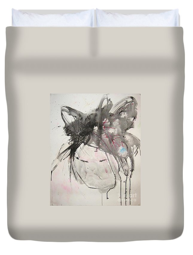 Black And White Paintings Duvet Cover featuring the painting Being Patient by Seon-Jeong Kim
