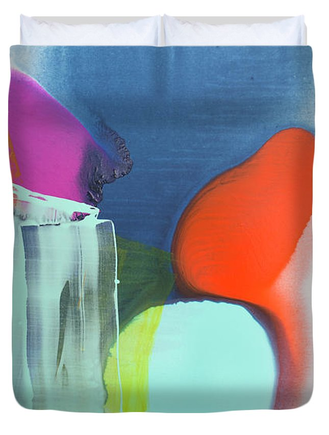 Abstract Duvet Cover featuring the painting Being Sincere by Claire Desjardins