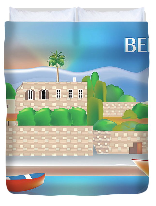 Beirut Duvet Cover featuring the digital art Beirut Lebanon Horizontal Scene by Karen Young